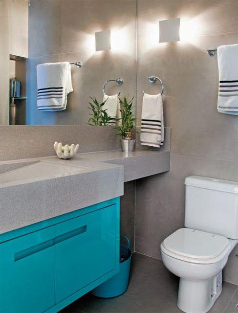 Cinza o coringa na decoração — Niina Secrets -> Banheiro Pequeno Cinza